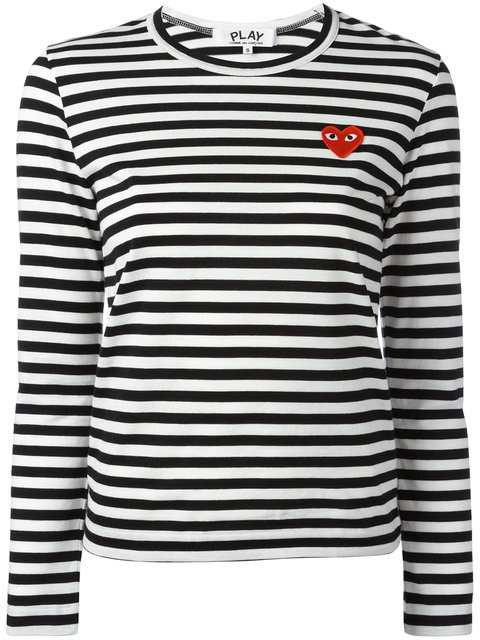 4b6e9f4660 Comme Des GarÇOns Play Comme Des Garcons Play Black And White Striped Heart  Patch T-