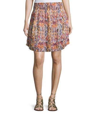 Iro Orchid Printed Smocked Voile Skirt, Orange