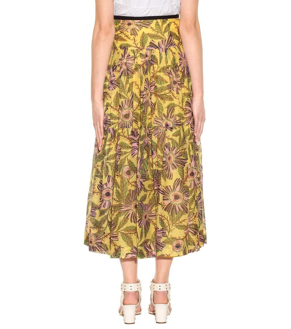 125b0b6a5 Red Valentino Passion Flower-Print Pleated Midi Skirt, Multi Pattern In  Multicoloured