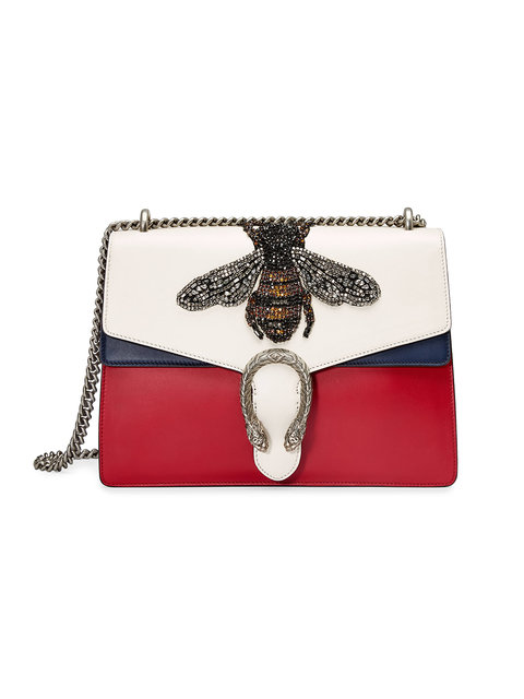 13d11cf43c8636 Gucci Women's Dionysus Crystal Embellished Bee Crossbody Bag In Red ...