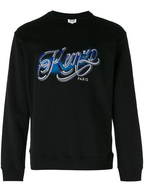 Kenzo Logo-Print Cotton-Jersey Sweatshirt In Black