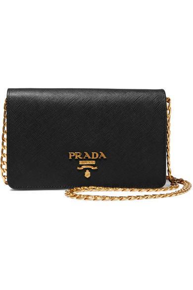 2f6bd03180da Prada Wallet On A Chain Textured-Leather Shoulder Bag In Black ...