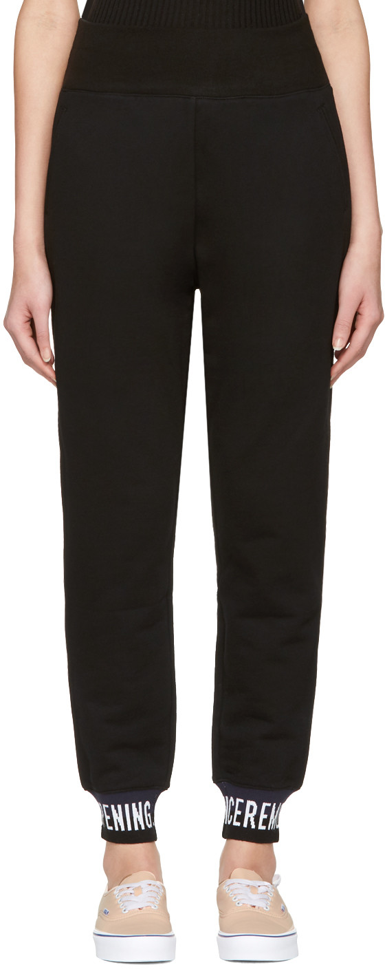 Opening Ceremony Ribbed Knit-trimmed Cotton Track Pants In 0001 Black