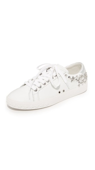 f1ddfff2450 Ash Women's Dazed Star Studded Leather Lace Up Sneakers In White/Silver