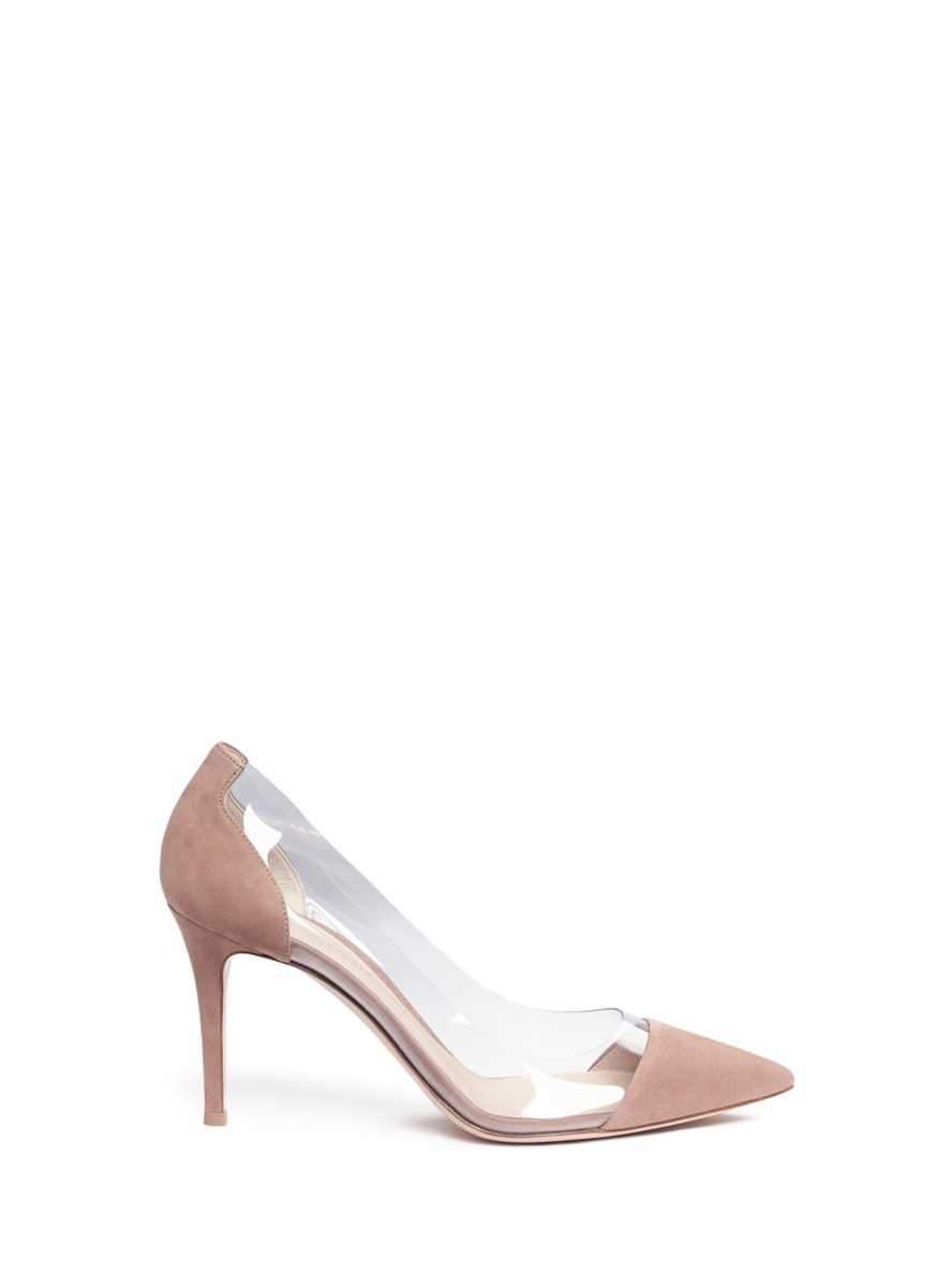 7499375158b70 Gianvito Rossi  Plexi  Clear Pvc Suede Pumps In Dusty-Pink