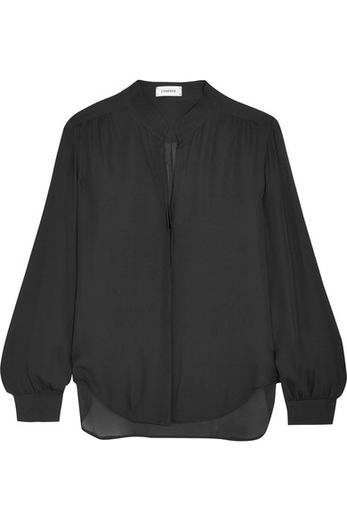 L Agence Bianca Silk-georgette Blouse In Black