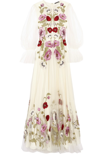 Alexander Mcqueen Poppy Embroidered Tulle Long  Dress In White