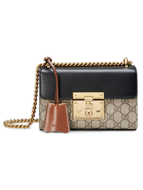 97c254cd6b33 Gucci Padlock Gg Supreme Leather And Coated Canvas Shoulder Bag In Brown