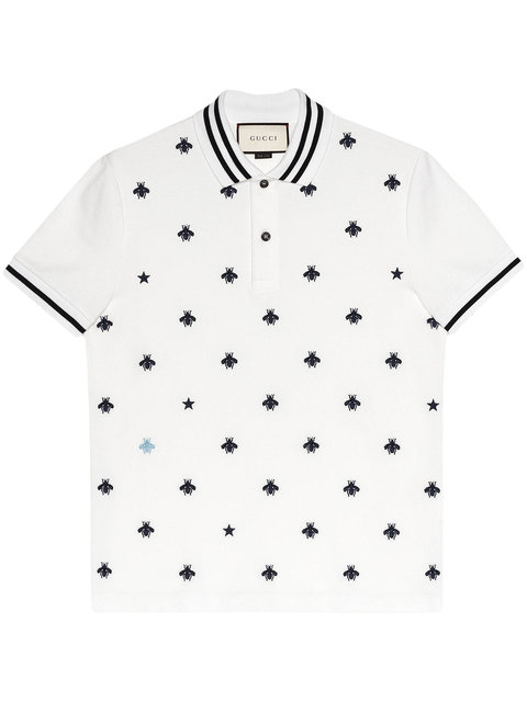 c234f80e15 Gucci Slim-Fit Embroidered Cotton-Blend PiquÉ Polo Shirt In 9983 White