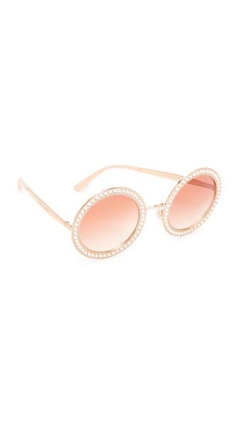 608797843c7 Dolce   Gabbana 51Mm Crystal-Trim Round Sunglasses In Pink Gold Pink ...