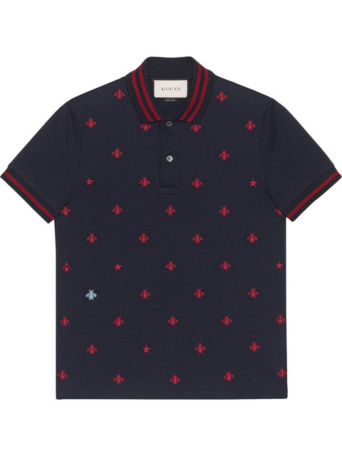 5bcd277825a Gucci Bee-Embroidered Slim-Fit Stretch-Cotton Polo Shirt In Blue ...