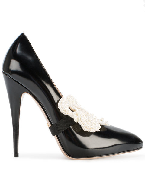 ddf410e5f Gucci Elaisa Removable Pearly Bow & Leather Point Toe Pumps In Black ...