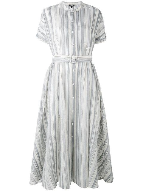 Theory Avink Striped Crinkled Cotton And Silk-Blend Midi Dress In Shell  Multi 2e947680f