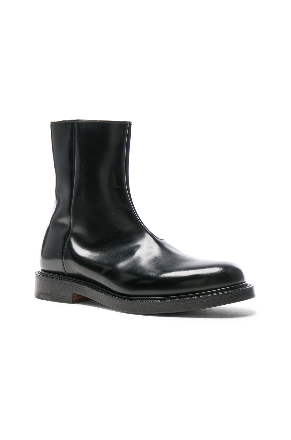 Vetements X Church's Logo Leather Ankle Boots In Black