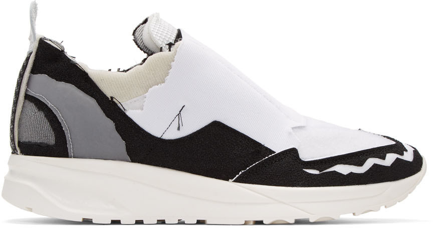 Maison Margiela Retro Runner Sneakers - Black In 965 White Variant
