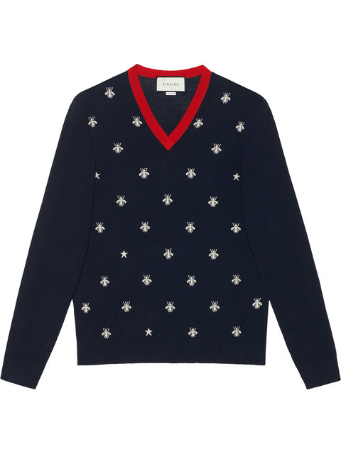 Gucci Wool V-neck With Bees And Stars In Blue