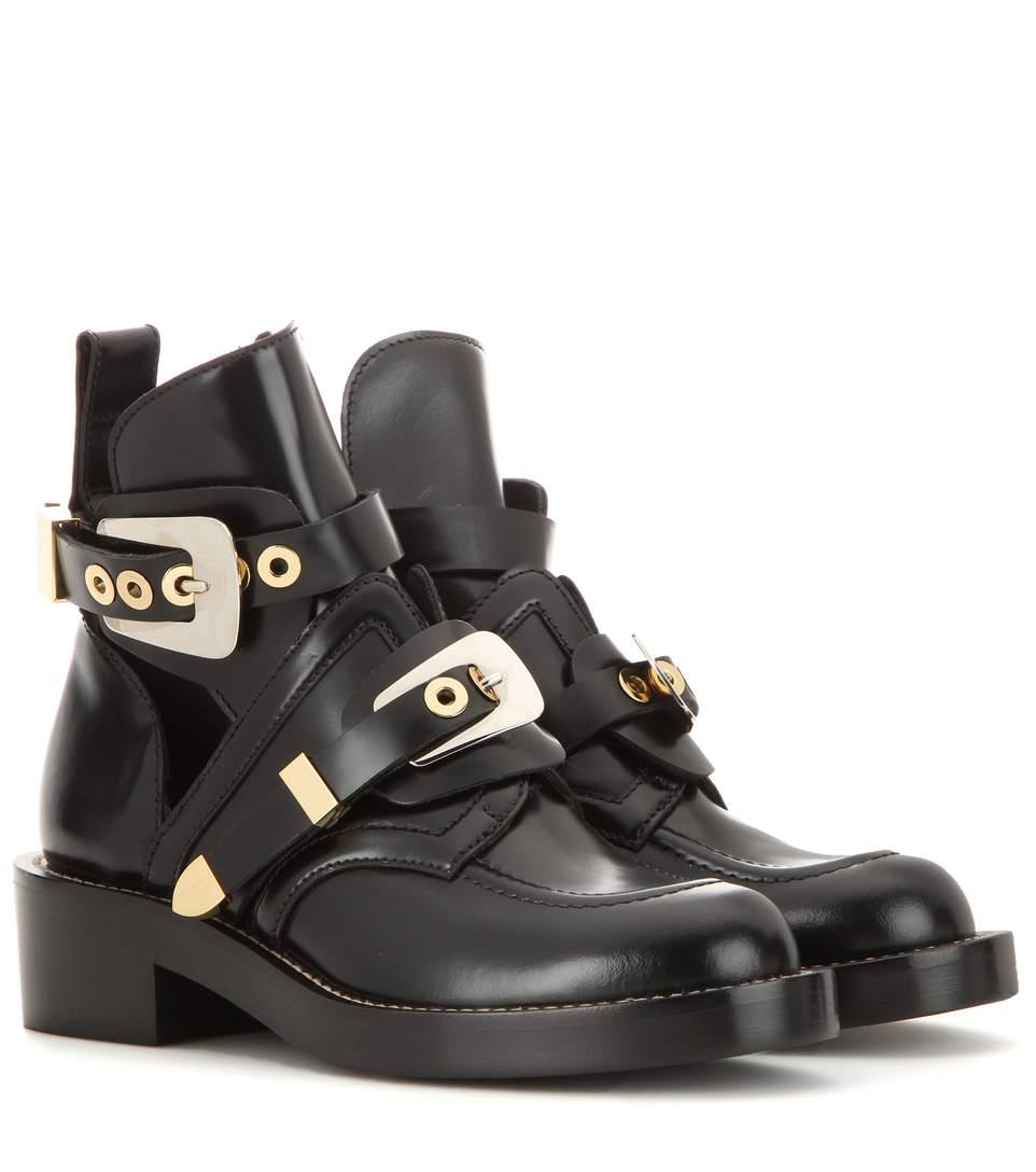 a2b5590a6b8bd Balenciaga Ceinture Cut-Out Leather Ankle Boots In Black