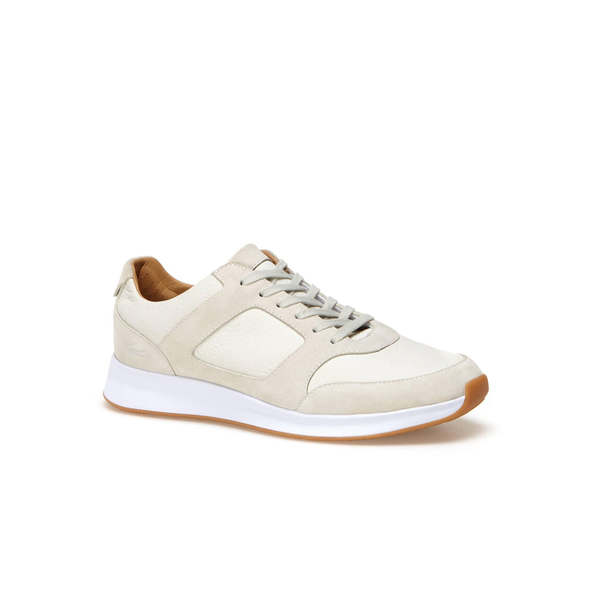 Lacoste Men S Jogger Nappa Leather Sneakers - Off White  9c54a7d05