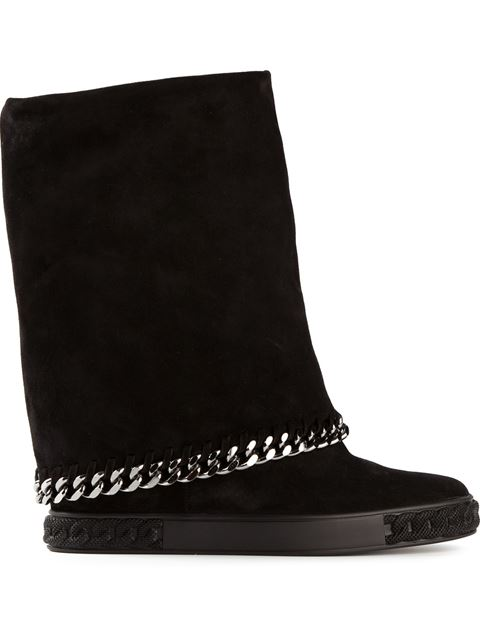 Casadei 90mm Suede Wedged Boots With Chain Trim, Black