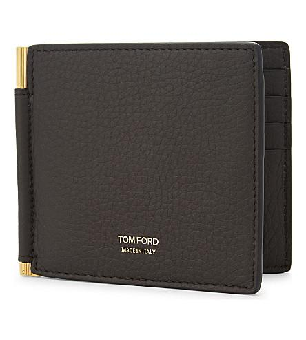 225bc97e24ac Tom Ford Men's Leather Bi-Fold Wallet W/ Money Clip In Brown | ModeSens