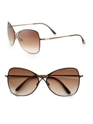 3dcd08458097 Tom Ford Colette Rimless Aviator Sunglasses In Brown
