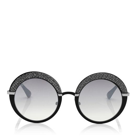 dd41542e8a4a Black Palladium and Glitter Round Framed Sunglasses. item no. GOTHAS50EIXA  These round framed sunglasses are characterised by their glittered  plexiglass   ...