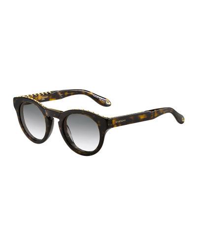 f5c4d8190c Givenchy square sunglasses. Acetate frames. Round lenses. Studded top edge.  Keyhole nose bridge. Logo-embossed temples. 100% UVA UVB protection.