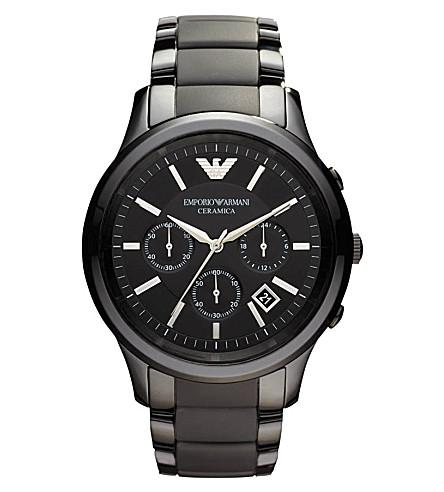 Emporio Armani Men's Chronograph Black Ceramic Bracelet Watch 47mm Ar1451