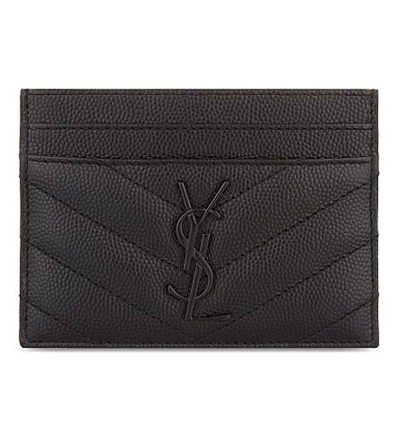 566ed620b86 Saint Laurent Monogram Card Case In Grain De Poudre Embossed Leather In  Black