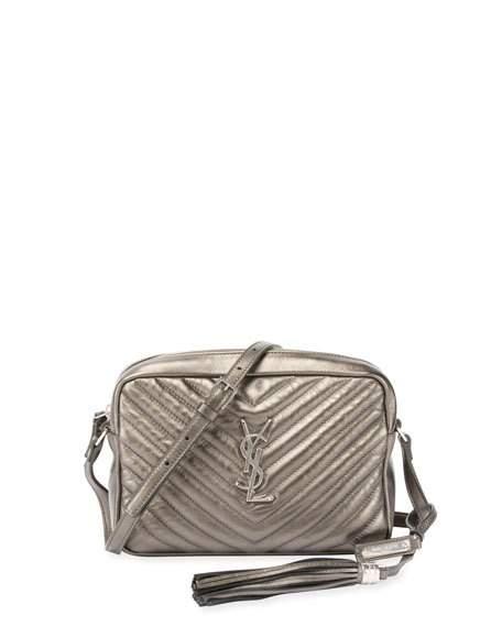 Saint Laurent Loulou Monogram Medium Quilted Metallic Leather Crossbody Bag 432e55e35b3c4