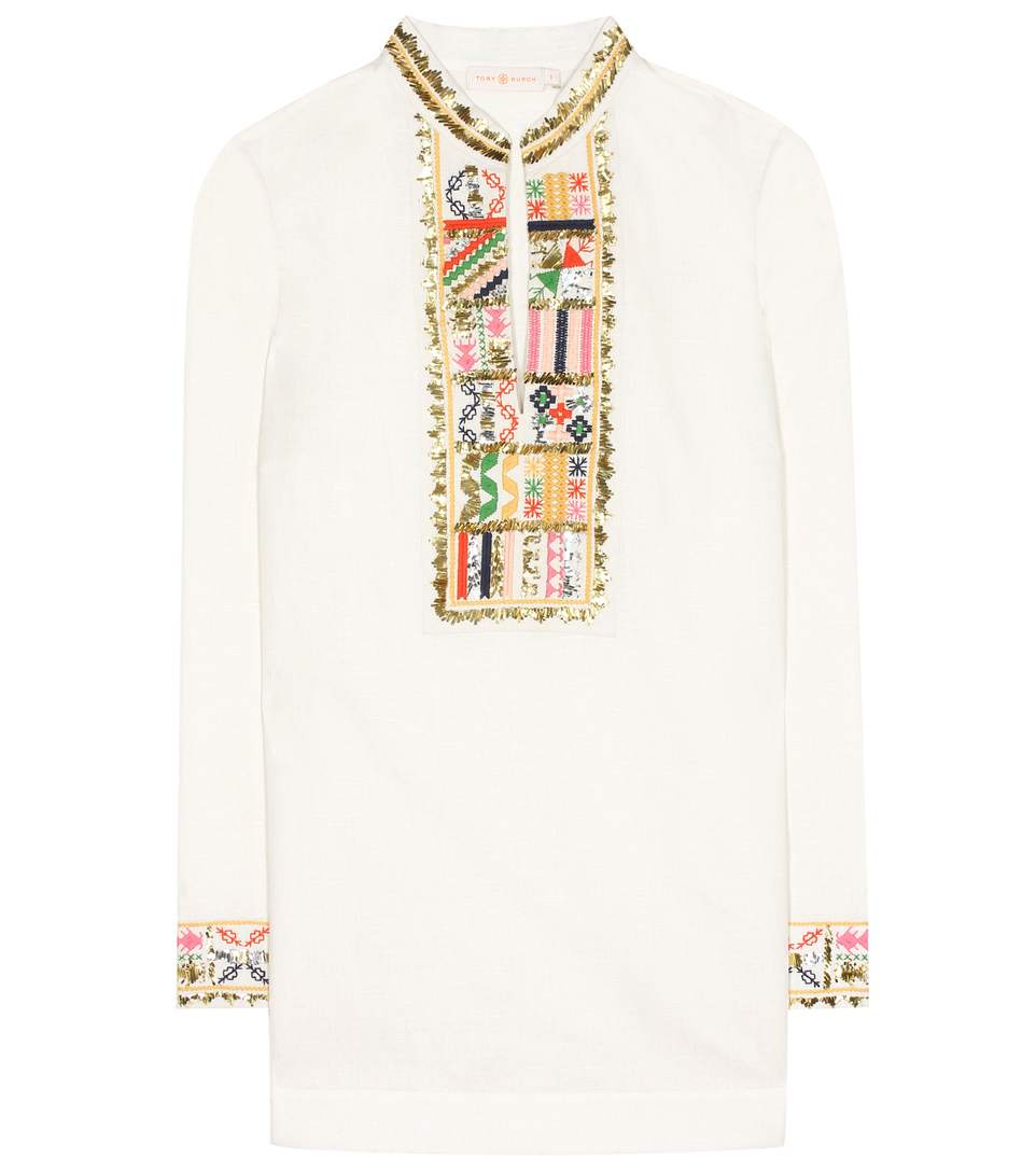 00f2d084dac Tory Burch Long-Sleeve Embellished Tory Tunic, Ivory In White | ModeSens