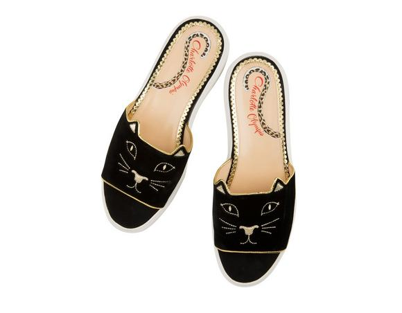 ee54ea0f9 Charlotte Olympia Kitty Embroidered Pool Slide Sandals In Black ...