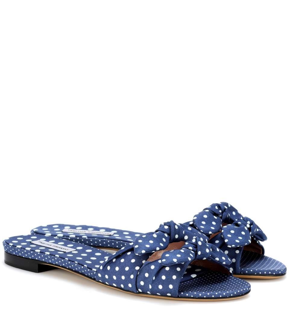 d179ae255c6 Tabitha Simmons Cleo Polka-Dot Bow Flat Slide Sandal In Eavy-White Polka  Dots