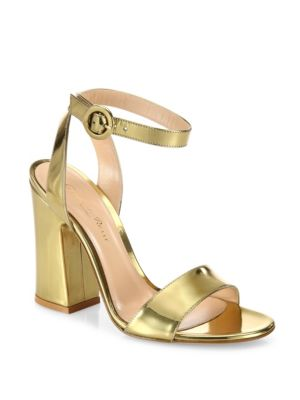 0a2aa2e37af Gianvito Rossi Tandi Metallic Leather Ankle-Strap Block-Heel Sandals In Gold