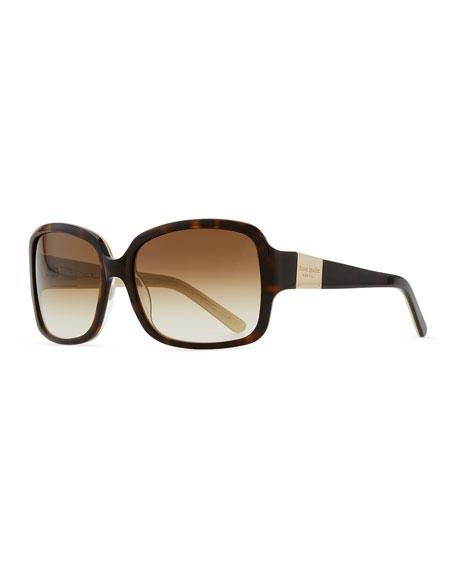 413b2570183 Kate Spade  Lulu  55Mm Rectangular Sunglasses - Tortoise  Gold ...