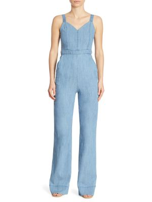 9b21d03ed725 Alice And Olivia Crystal Wide-Leg Denim Overall Jumpsuit
