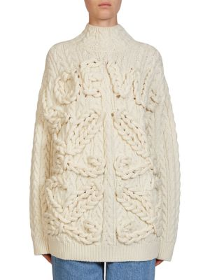 85accedb67 Loewe Cream Oversized Cable-Knit Wool Jumper In Off-White