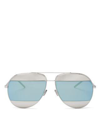 ef20e8bbc78 Dior Split Two-Tone Metallic Aviator Sunglasses