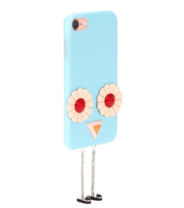 Fendi Blossom AppliquÉD Leather Iphone 7 Case In Blue