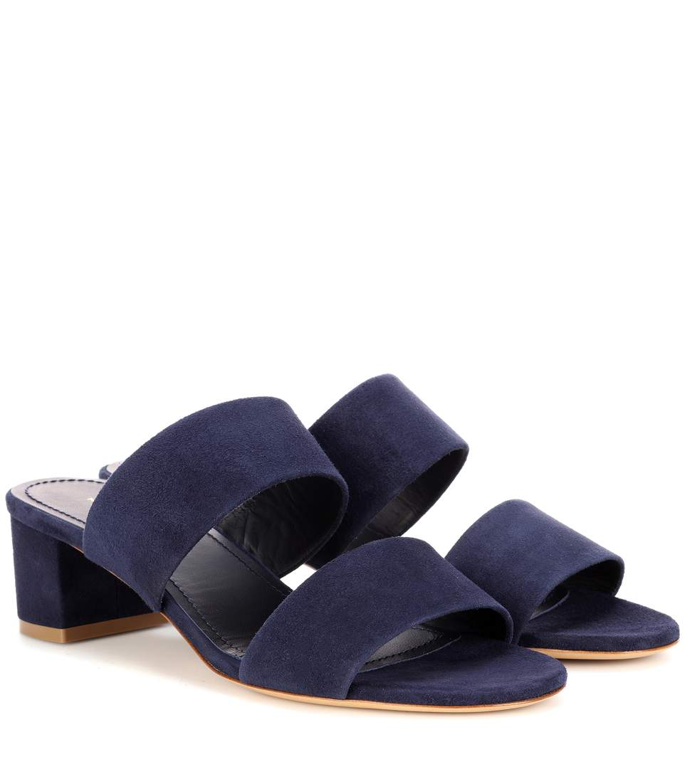 Mansur Gavriel 40Mm Double Strap Suede Sandals In Blue