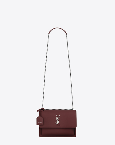 9a60e8a8b086 Saint Laurent Medium Sunset Calfskin Shoulder Bag - Burgundy In Red. SAINT  LAURENT. 2290Login to see price