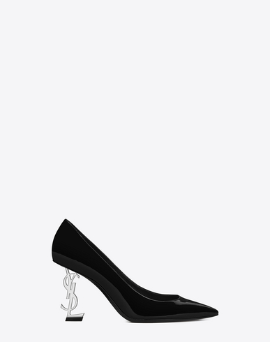 Saint Laurent Opyum Pumps In Patent Leather With Silver Tone Heel In Black