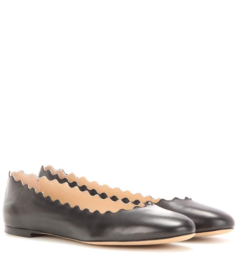 bf11e84ea ChloÉ Lauren Scalloped Leather Ballet Flats, Black   ModeSens