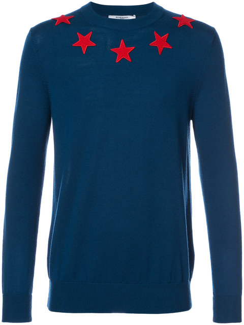 ff7b2c57a5a60 Givenchy Star AppliquÉ Crew Neck Sweater In Blue. GIVENCHY