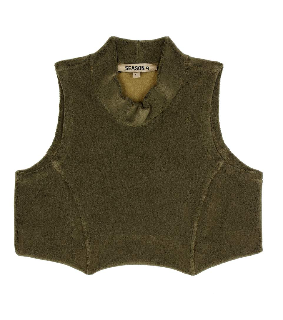 3539f3511 Yeezy Season 4 Sleeveless Stretch-Towelling Cropped Top In Green ...