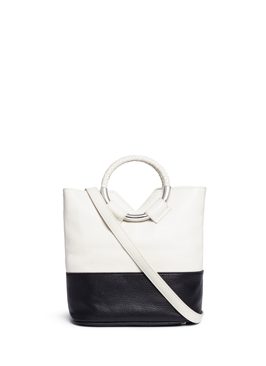 64dbbc78a Sam Edelman  Elina  Ring Handle Colourblock Leather Crossbody Bag In Ivory  Black