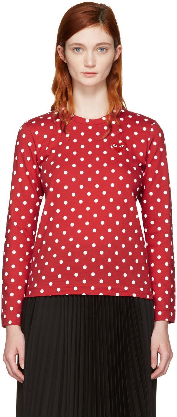d20b0bbebc95 Comme Des GarÇOns Play Comme Des Garcons Play Red Long Sleeve Polka Dot  Heart Patch T