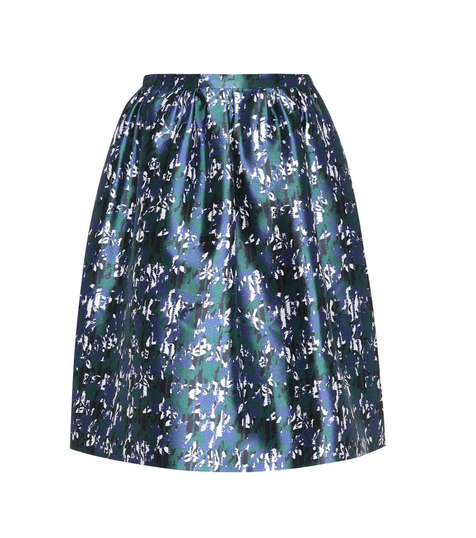 ee33fff513 Oscar De La Renta Abstract Floral-Print Silk-Mikado Skirt In Multicoloured