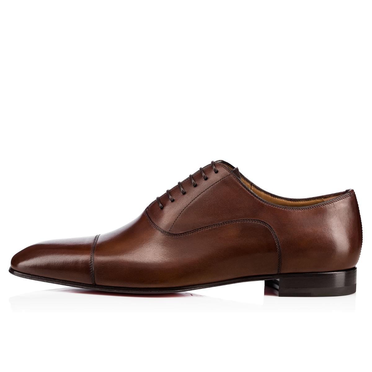 Christian Louboutin Greggo Flat Leather Balmorals In Brown