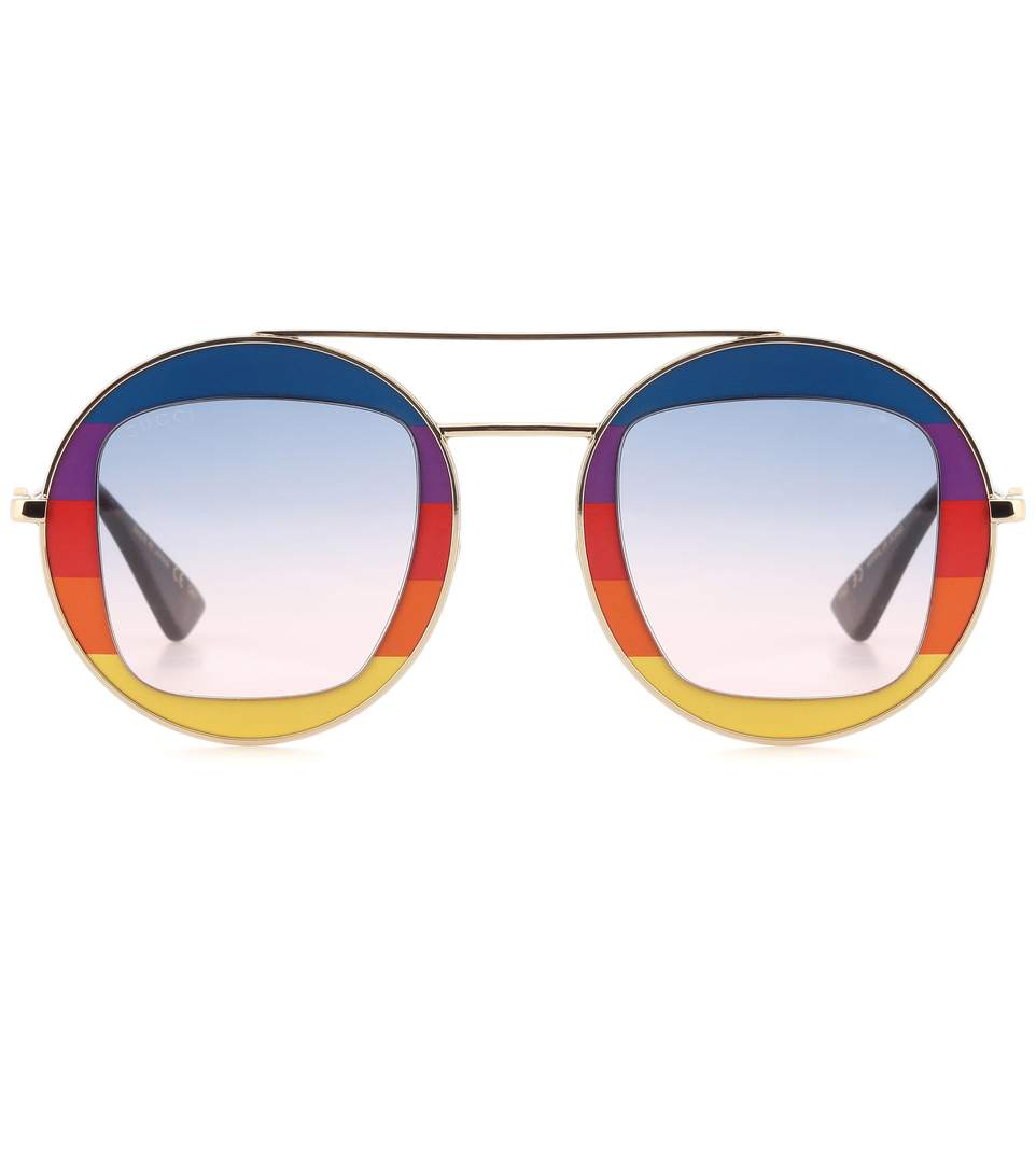 ea1b706a6f Gucci Round-Frame Metal Sunglasses In Blue   Yellow   Red   Orange ...